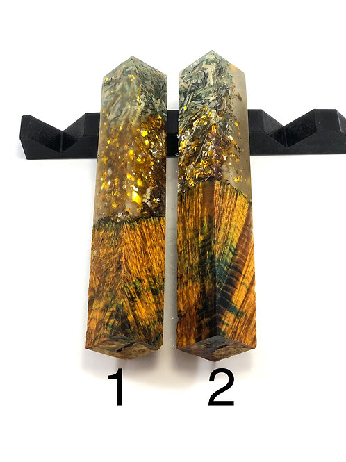 Pen Blank - Hybrid Dyed Black Ash Burl with Gold Flake and Shredded Money