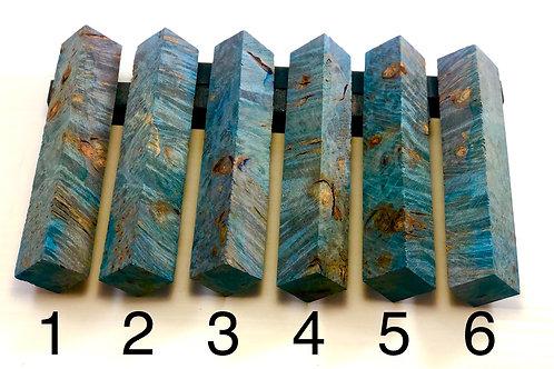Pen Blank - Blue Dyed Box Elder Burl Wood