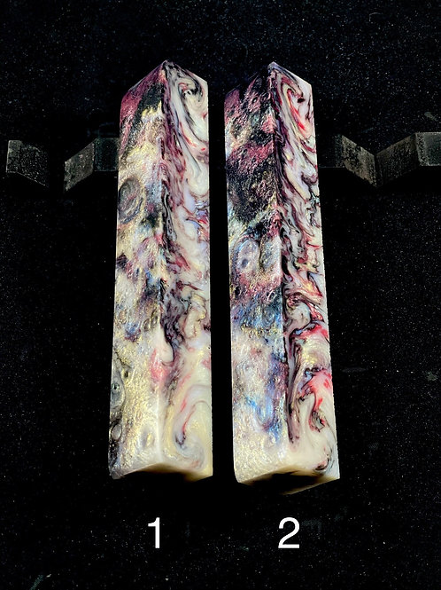 Pen Blank - Alumilite Resin - Abalone Pearl with Fuscia Accents