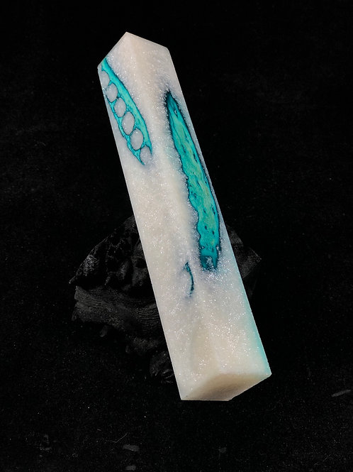 Pen Blank - Hybrid Blue Dyed Gator Jaw with Sparkle White Resin