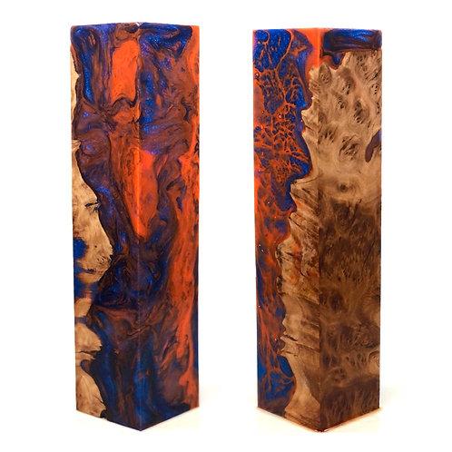 Duck Call - Hybrid Mallee Burl w/ Orange and Blue Resin