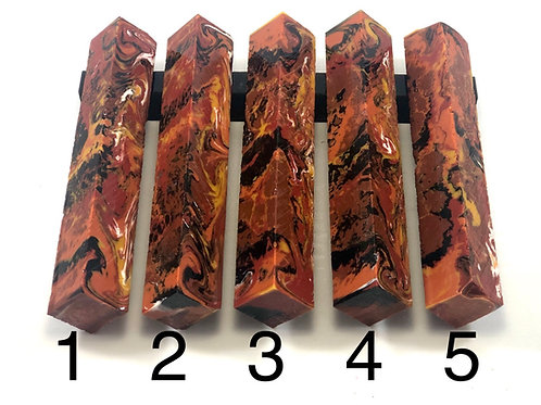 Pen Blank - Alumilite Resin - Tan, Red, Copper, Yellow, Black and White
