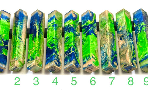 Pen Blank - Alumilite Resin - Tan, Blue and Green