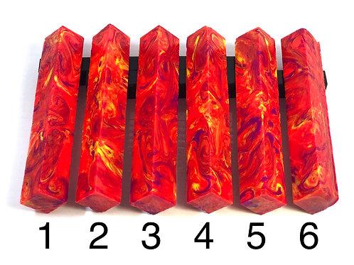 Pen Blank - Alumilite Resin - Neon Pink-Orange, Yellow and Purple