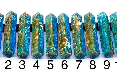Pen Blank - Alumilite Resin - Blue, Transparent Orange and White