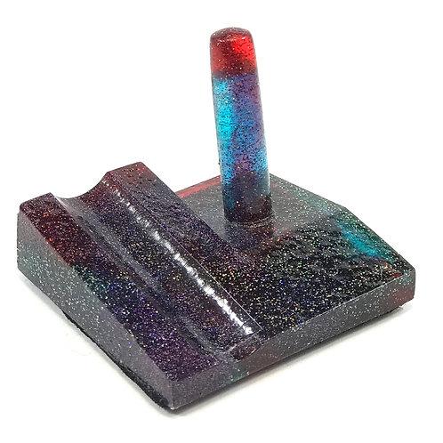 Junior Series Alumilite Resin Pen Stand - Red & Blue Glitter
