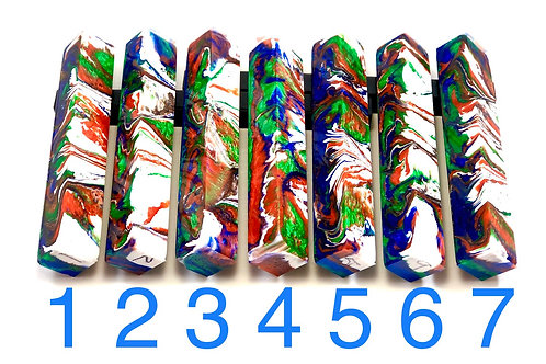 Pen Blank - Alumilite Resin - White, Blue, Green and Copper-red