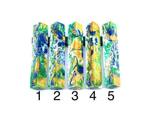 Pen Blank - Alumilite Resin - Green, Blue, White and Gold