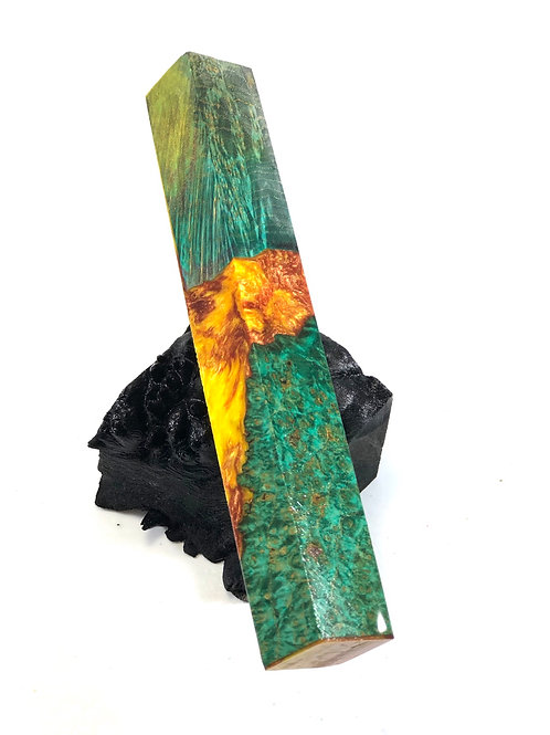 Pen Blank - Hybrid Green Dyed Black Ash Burl w/ Resin