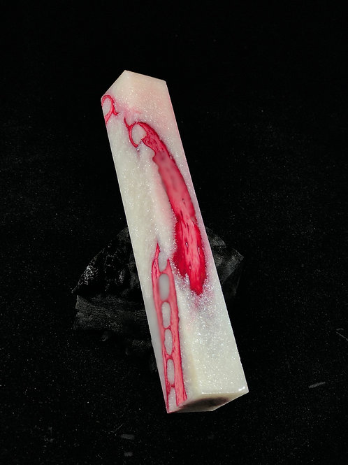 Pen Blank - Hybrid Red Dyed Gator Jaw with Sparkle White Resin