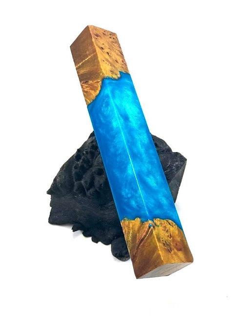 Pen Blank - Hybrid Dyed Maple Burl w/ Teal Blue Resin