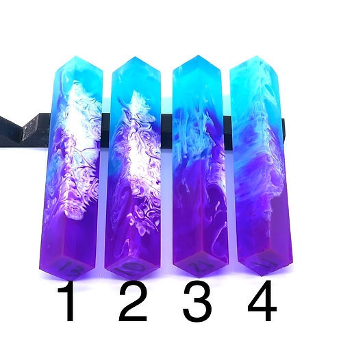 Pen Blank - Liquid Art Resin - 2 Color - Purple/Teal with White Swirl