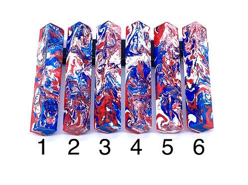 Pen Blank - Alumilite Resin - Red, White and Blue Swirl