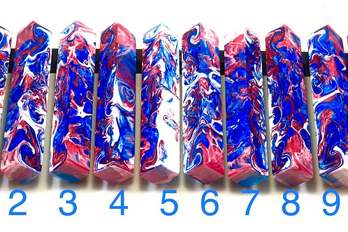 Pen Blank - Alumilite Resin - Red, White and Blue