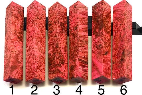 Pen Blank - Red Dyed Black Ash Burl Wood