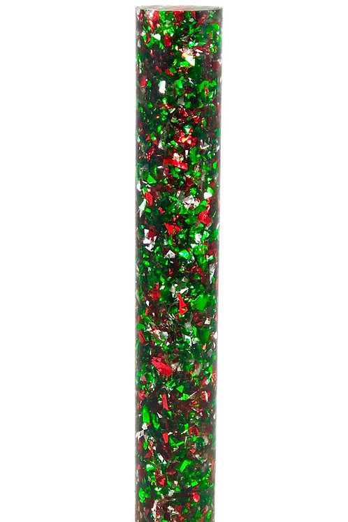 Pen Blank - Clear Resin Rod with Red, Green and Silver Flakes