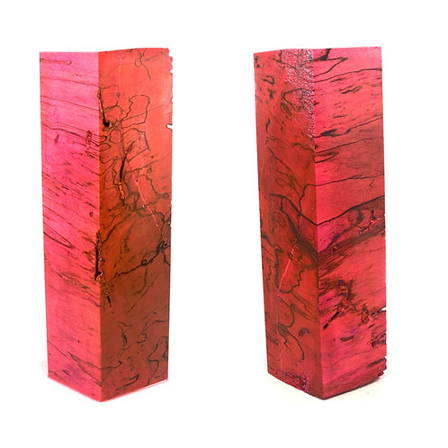 Duck Call - Stabilized Pink Dyed Spalted Hackberry Blank