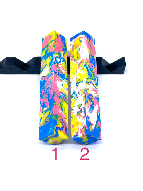 Pen Blank - Alumilite Resin - Blue, Pink, Yellow and White