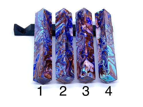 Pen Blank - Alumilite Resin - Blue, Baby Blue, Chocolate Brown and Pearl Violet