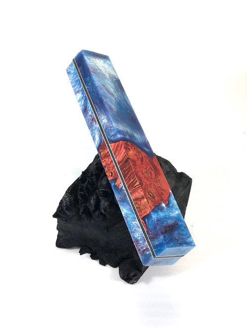 Pen Blank - Hybrid Dyed Burl with Resin