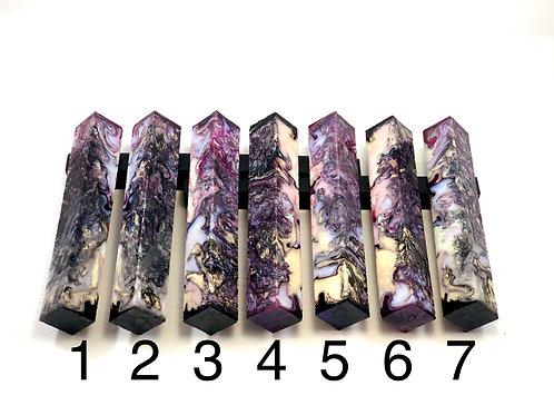 Pen Blank - Alumilite Resin - Black, Pearl Colors w/Fuscia Accents