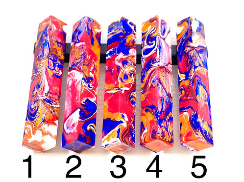 Pen Blank - Alumilite Resin - Orange, Blue, Pink and White