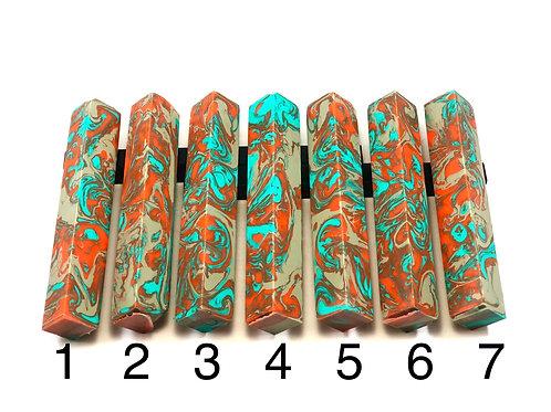 Pen Blank - Alumilite Resin - Grey, Orange and Turquoise