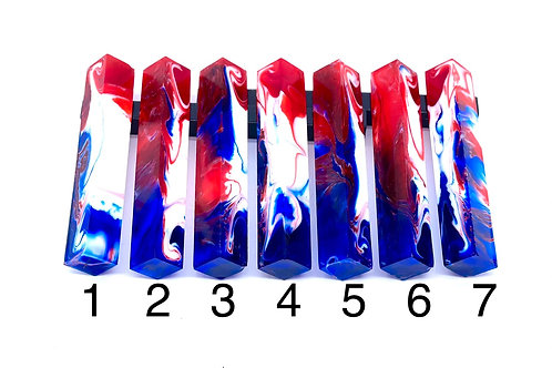 Pen Blank - Liquid Art Resin - 2 Color Red and Blue with White Swirl