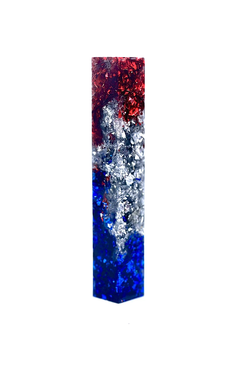 Pen Blank - Alumilite Resin - Red,  Silver and Blue Flake in Clear