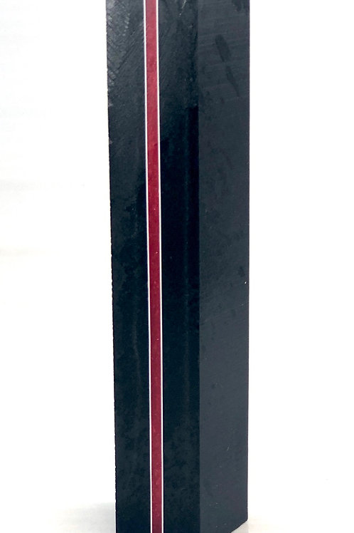 Pen Blank - Alumilite - Black and Thin Red Line segmented White Styrene