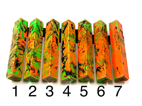 Pen Blank - Alumilite Resin with Orange, Green and Black
