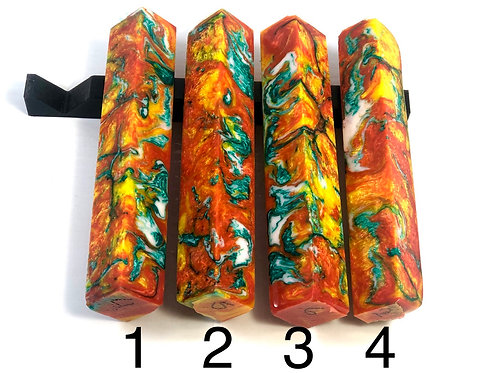 Pen Blank - Alumilite Resin - Orange, Yellow, Teal and White