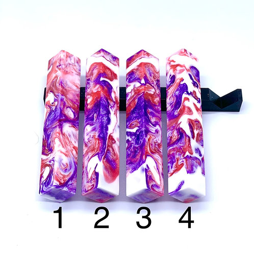 Pen Blank - Alumilite Resin - Pink, Purple and White