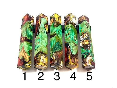 Pen Blank - Hybrid Green Dyed Burl w/ Red, Yellow, White & Black Resin
