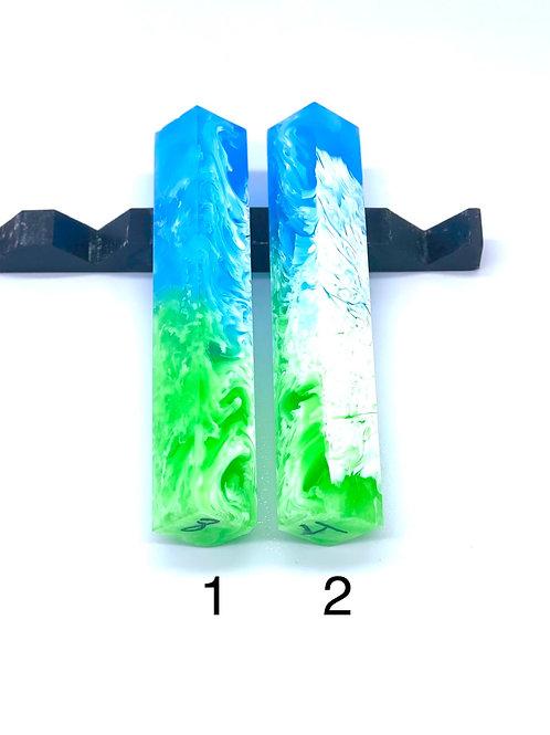 Pen Blank - Liquid Art Resin - 2 Color - Green/Blue with White Swirl