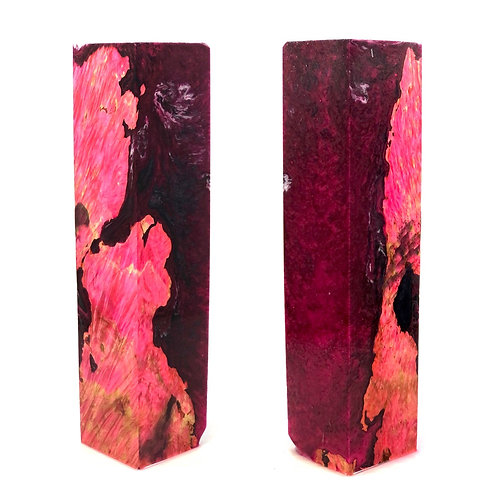 Duck Call - Hybrid Dyed Pink  Box Elder Burl w/ Burgundy and Black Resin