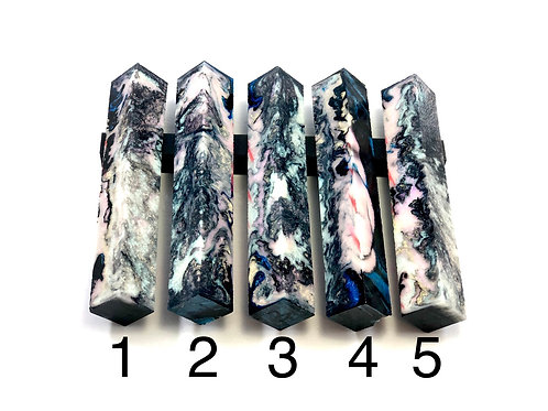 Pen Blank - Alumilite Resin - Black, Interference Pearl Colors w/Blue Accents
