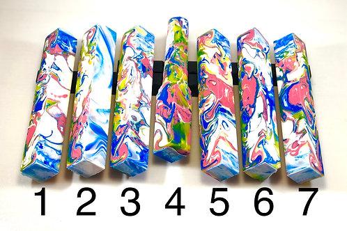 Pen Blank - Alumilite Resin - White, Pink, Blue, Yellow