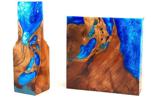 Pot/Turkey Call Blank - Hybrid Juniper Burl and Blue Alumilite
