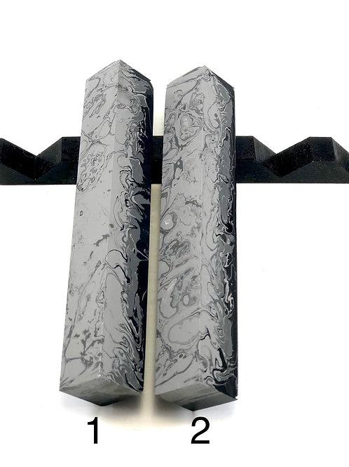 Pen Blank - Alumilite Resin - Grey, Silver and Black (flat)