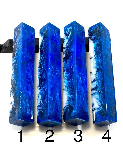 Pen Blank - Alumilite Resin - Black, White and Blue