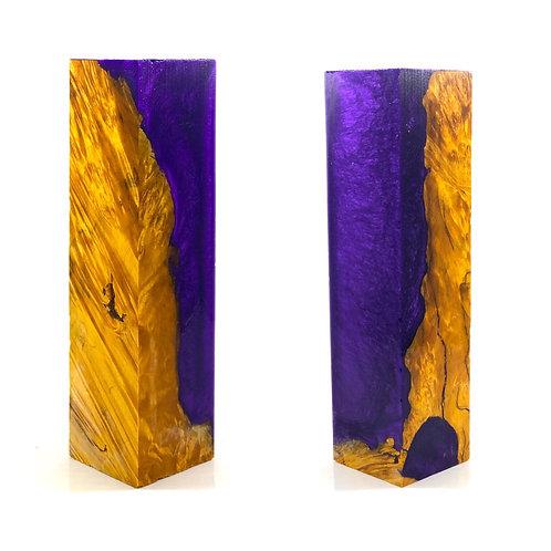 Duck Call - Hybrid Yellow Dyed Box Elder Burl Blank with Purple Resin