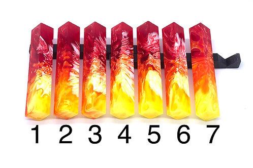 Pen Blank - Liquid Art Resin - 3 Color - Red/Orange/Yellow with White Swirl