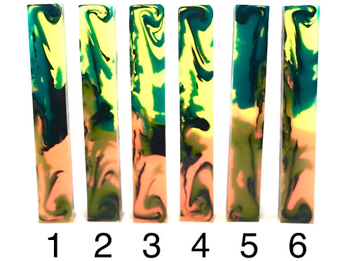 Pen Blank - Alumilite Resin Transparent Multi-color with Black Swirl
