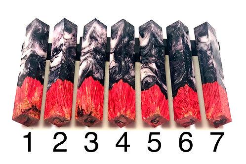 Pen Blank - Hybrid Red Dyed Box Elder Burl with Resin