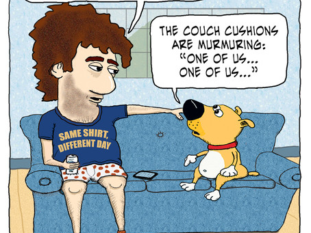 At one with the couch cushions