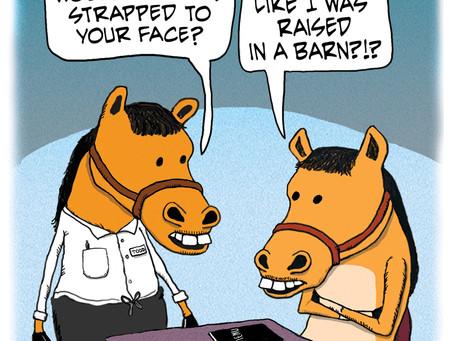 A horse walks into a restaurant...