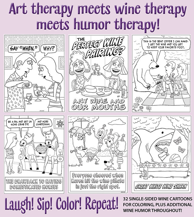 back cover of my wine cartoons coloring book