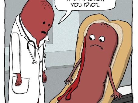 A hot dog visits Dr. Wiener