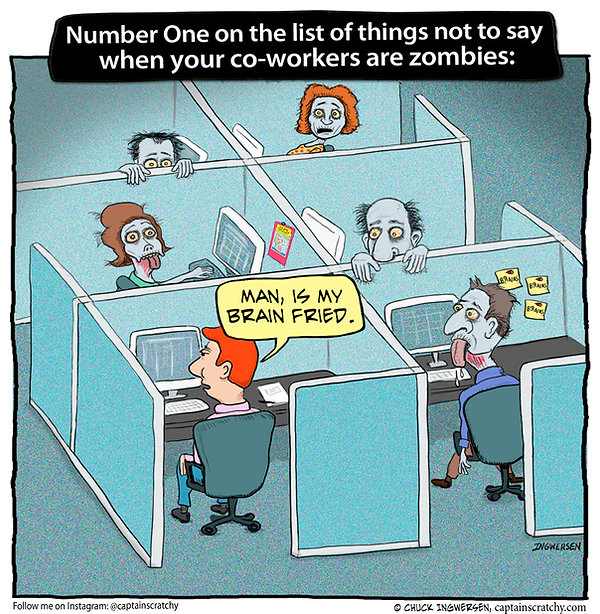 funny zombie co-workers cartoon
